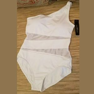 White One Shoulder Mesh Swimsuit